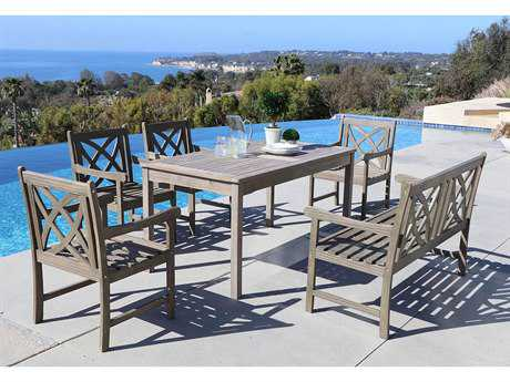 Vifah Renaissance Eco-friendly 6-piece Outdoor Hand-scraped Hardwood Dining Set with Rectangle Table 4-foot Bench and Arm Chairs