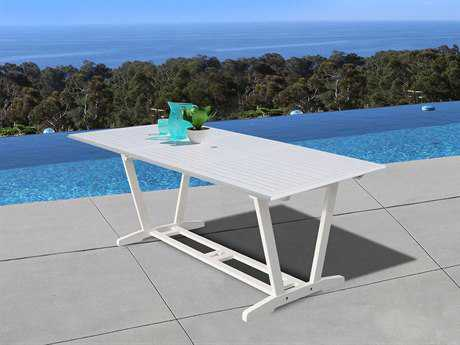 Vifah Bradley Eco-friendly White Hardwood Rectangular Extention Garden Table