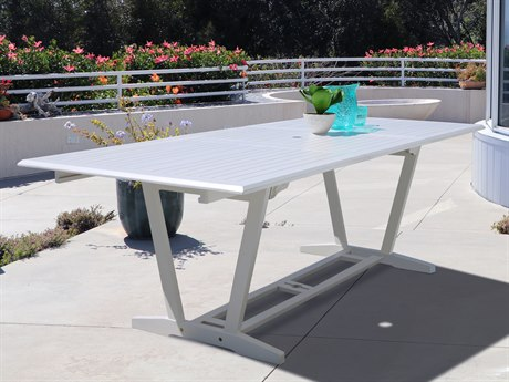 Vifah Bradley Eco-friendly White Hardwood Rectangular Extention Garden Table VFV1334