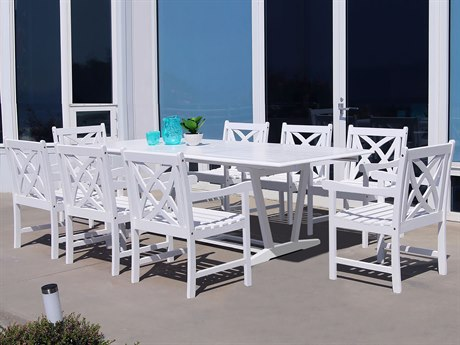 Vifah Bradley Eco-friendly 9-piece White Hardwood Dining Set with Rectangle Extention Table and Arm Chairs