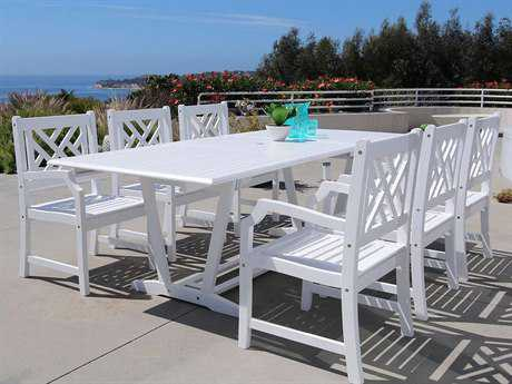 Vifah Bradley Eco-friendly 9-piece Outdoor White Hardwood Dining Set with Rectangle Extension Table and Arm Chairs