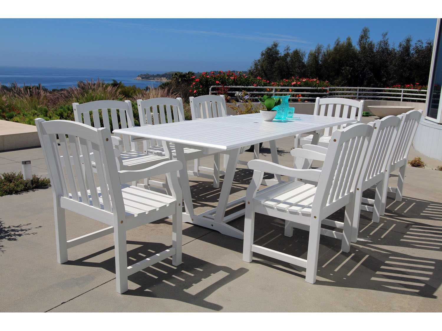 Vifah Bradley Eco Friendly 9 Piece Outdoor White Hardwood