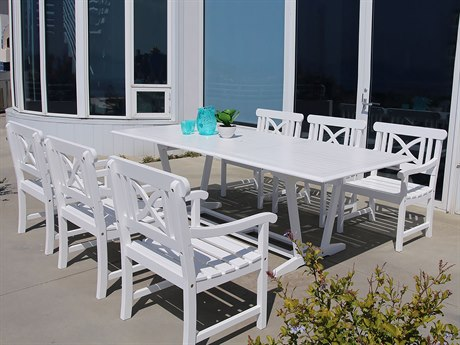 Vifah Bradley Eco-friendly 7-piece Outdoor White Hardwood Dining Set with Rectangle Extension Table and Arm Chairs