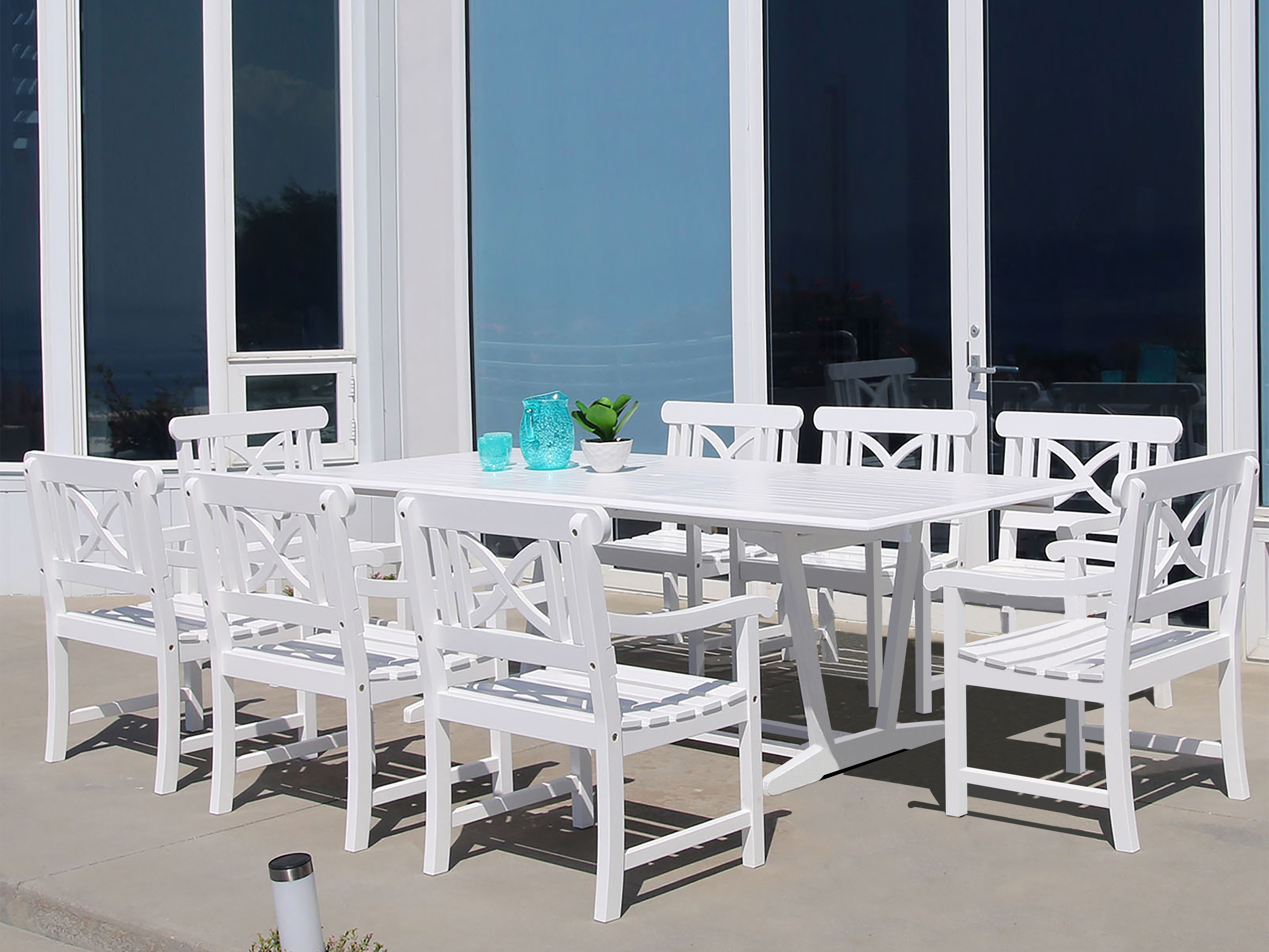 Vifah Bradley Eco-friendly 9-piece Outdoor White Hardwood Dining Set ...