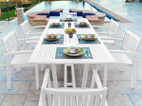 Vifah Bradley Eco-friendly 7-piece White Hardwood Dining Set with Rectangle Extention Table and Arm Chairs