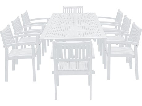 Vifah Bradley Wood 9-piece Dining Set with Extension Table