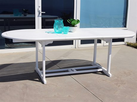 Vifah Bradley Eco-friendly White Hardwood Oval Extention Garden Table VFV1335