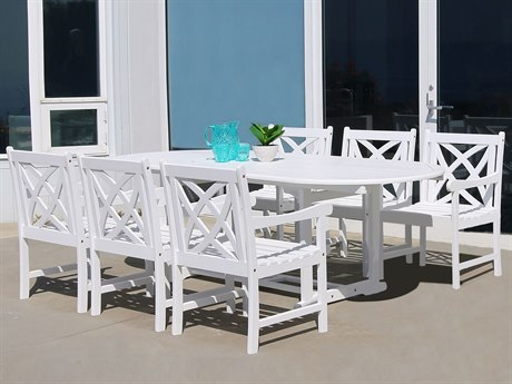 Vifah Bradley Eco-friendly 7-piece White Hardwood Dining Set with Rectangle Extention Table 5-foot Bench and Arm Chairs