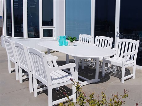 Vifah Bradley Eco-friendly 7-piece Outdoor White Hardwood Dining Set with Oval Extension Table and Arm Chairs