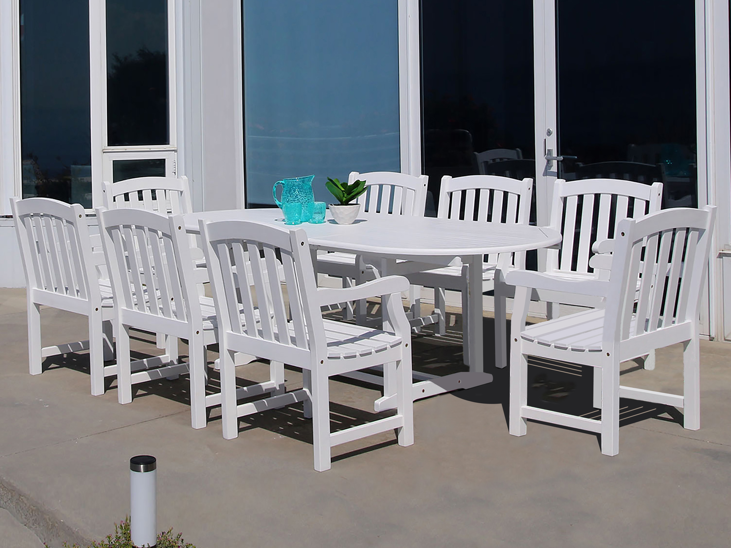 Vifah Bradley Eco Friendly 9 Piece Outdoor White Hardwood Dining Set With  Oval Extension Table And Arm Chairs