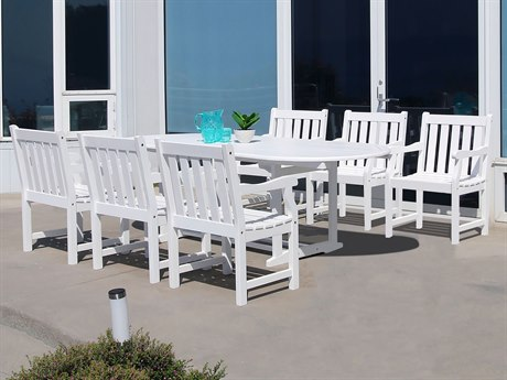 Vifah Bradley Eco-friendly 7-piece White Hardwood Dining Set with Oval Extention Table and Arm Chairs