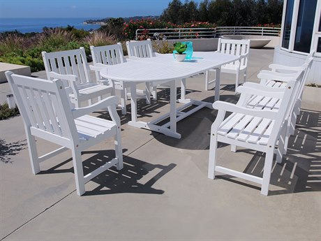 Vifah Bradley Eco-friendly 9-piece Outdoor White Hardwood Dining Set with Oval Extension Table and Arm Chairs