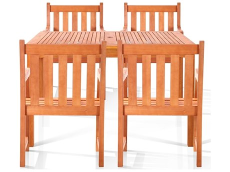 Vifah Eucalyptus Edgewood Four-Seater Dining Set
