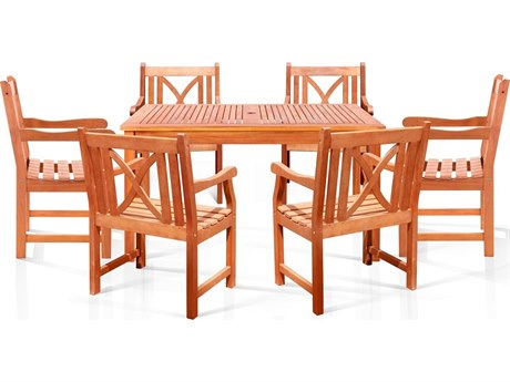 Vifah Eucalyptus Wood Sturdy and Large Square Table & Armchair Dining Set