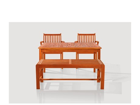 Vifah Eucalyptus Wood Sturdy and Large Rectangular Table Bench & Armchair 5 Piece Dining Set