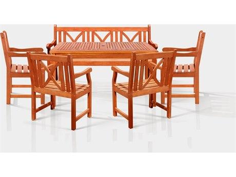 Vifah Eucalyptus Wood Sturdy and Large Rectangular Table Bench & Armchair Dining Set