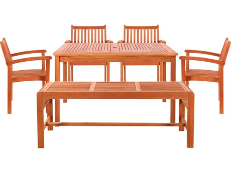 Vifah Wood Rectangular Table Bench & Armchair Dining Set