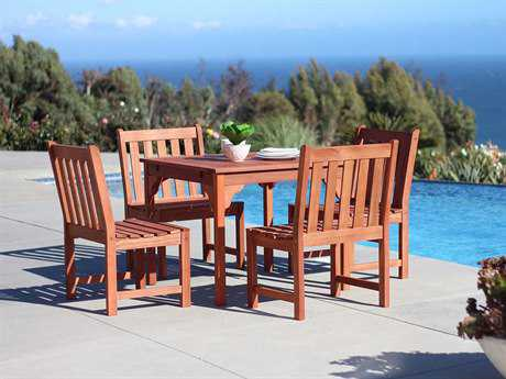 Vifah Malibu Eco-friendly 5-piece Hardwood Dining Set with Rectangle Table and Armless Chairs