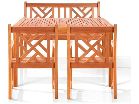 Vifah Eucalyptus Wood Tesera Bench-Seater Dining Set