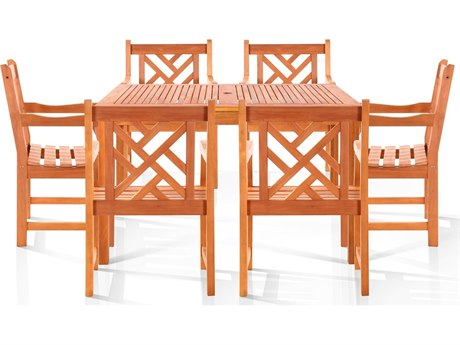 Vifah Eucalyptus Wood Nantucket Six-Seater Dining Set