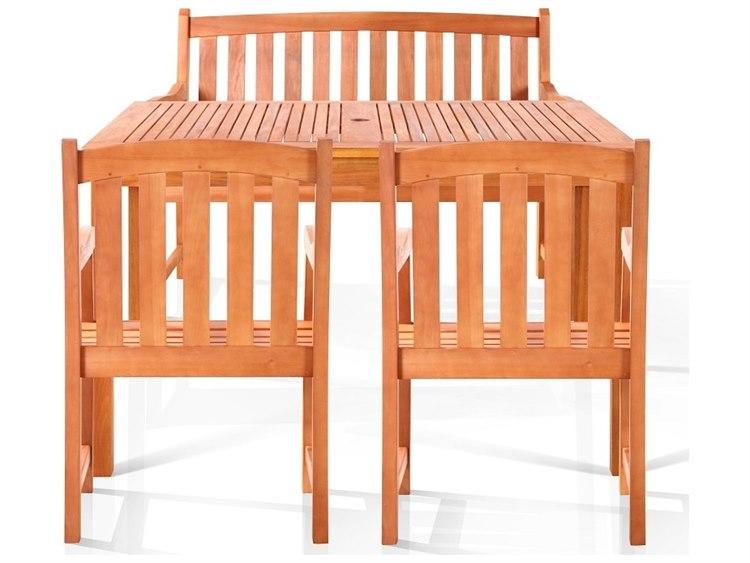 Vifah Eucalyptus Wood Alameda Bench-Seater Dining Set