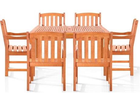 Vifah Eucalyptus Wood Chadwick Six-Seater Dining Set