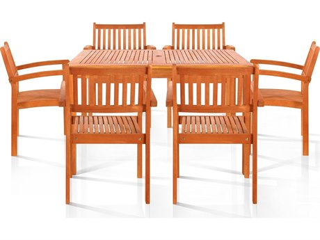 Vifah Eucalyptus Wood Ayr Six-Seater Dining Set