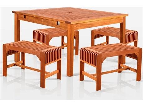 Vifah Eucalyptus Wood Square Table & Armchair Dining Set