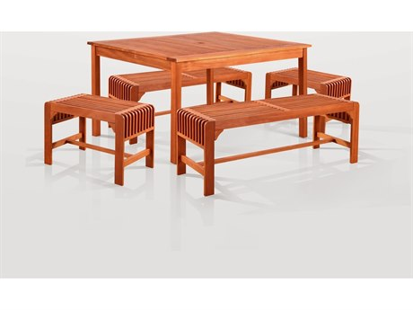 Vifah Eucalyptus Wood Sturdy and Large Dining Set