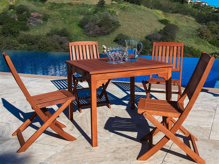 Pleasant Vifah Malibu Outdoor 5 Piece Wood Dining Set With Folding Chairs Machost Co Dining Chair Design Ideas Machostcouk