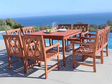 Vifah Malibu Eco-friendly 9-piece Hardwood Dining Set with Square Table and Arm Chairs