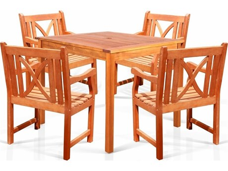 Vifah Eucalyptus Wood Square Table & Armchair 5 Piece Dining Set