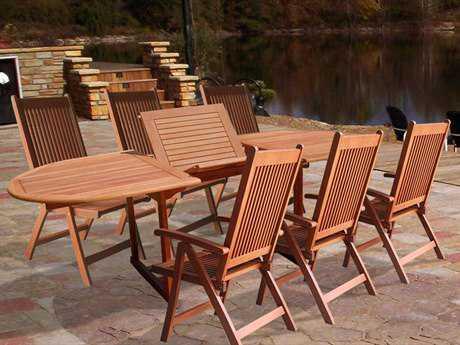 Vifah Eucalyptus Wood 7-Piece Outdoor Dining Set