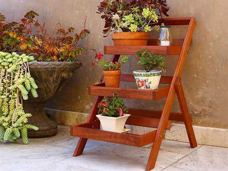 Vifah Eucalyptus Wood Outdoor Three-Layer Plant Stand