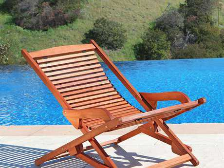 Vifah Eucalyptus Wood Reclining Folding Lounge Chair