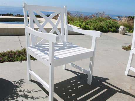 Vifah Bradley Eco-friendly White Wood Garden Arm Chair