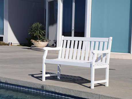 Vifah Bradley Eco-friendly 4-foot White Wood Garden Bench