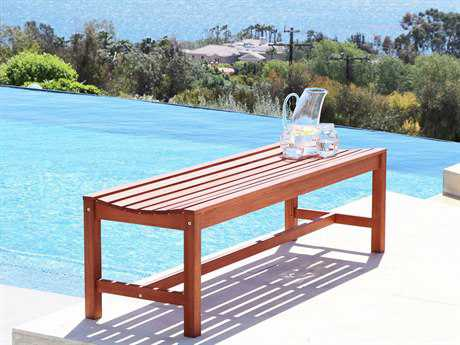 Vifah Malibu Eco-friendly 4-foot Backless Hardwood Garden Bench