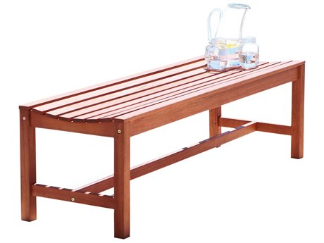 Vifah Malibu Eco-friendly 4-foot Backless Hardwood Garden Bench PatioLiving