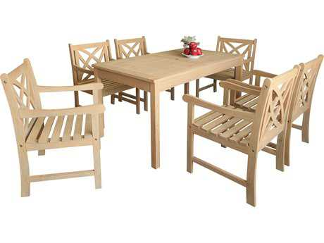 Vifah Beverly Outdoor Garden Acacia Hardwood 7-piece Dining Set