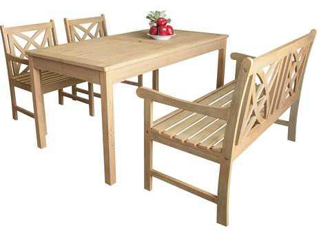 Vifah Beverly Outdoor Garden Acacia Hardwood 4-piece Dining Set