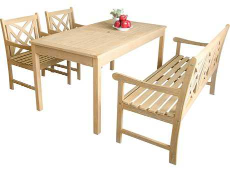 Vifah Beverly Outdoor Garden Acacia Hardwood 4-piece Dining Set