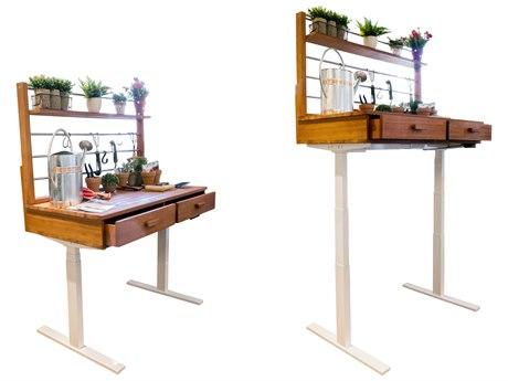 Vifah Beverly Outdoor Garden Acacia Hardwood Sit to Stand Adjustable Height Potting Bench VFV1705