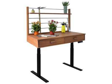 Vifah Beverly Outdoor Garden Acacia Hardwood Sit to Stand Adjustable Height Potting Bench VFV1706