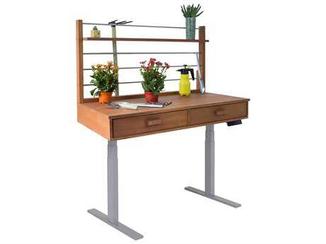 Vifah Beverly Outdoor Garden Acacia Hardwood Sit to Stand Adjustable Height Potting Bench