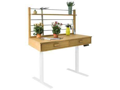 Vifah Beverly Outdoor Garden Acacia Hardwood Sit to Stand Adjustable Height Potting Bench VFV1708