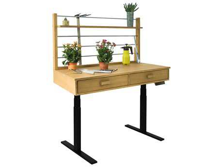 Vifah Beverly Outdoor Garden Acacia Hardwood Sit to Stand Adjustable Height Potting Bench VFV1709