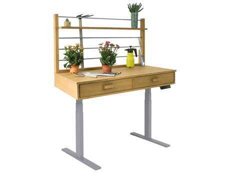 Vifah Beverly Outdoor Garden Acacia Hardwood Sit to Stand Adjustable Height Potting Bench VFV1710