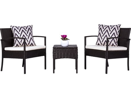 Vifah Cyrus 3-Piece Cushioned Wicker Compact Outdoor/Indoor Lounge Set