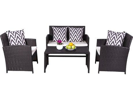 Vifah Cyrus 4-Piece Cushioned Compact Outdoor/Indoor Wicker Lounge Set